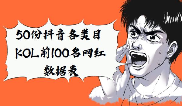 50份抖音各类目KOL前100名网红数据表
