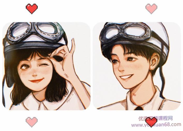 【雀斑儿-chn】2021年2月iPad插画少女头像线稿课【画质高清有素材】