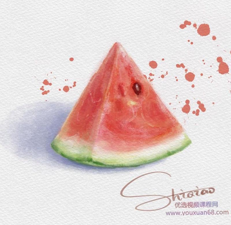 2020年诗乔水彩ipad插画课水果+甜品【画质高清有笔刷】